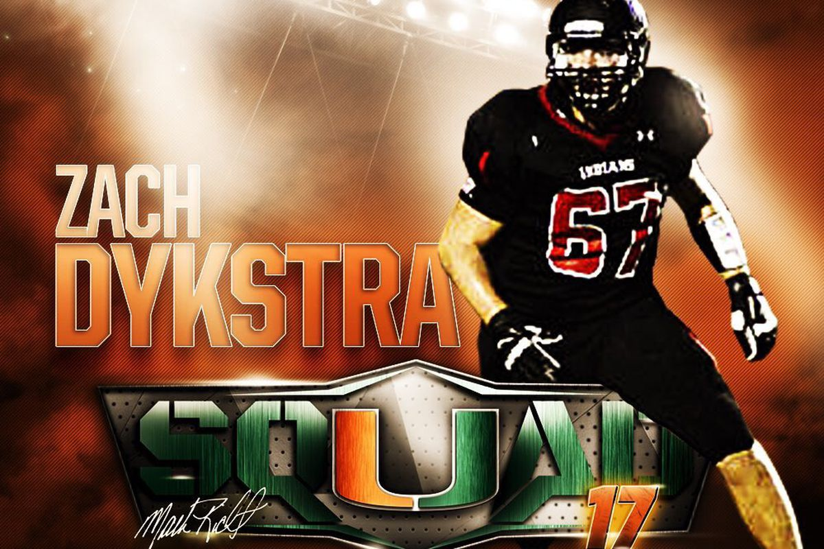 3-star OL Zach Dykstra (Spirit Lake, IA) is the latest player to commit to the Miami Hurricanes