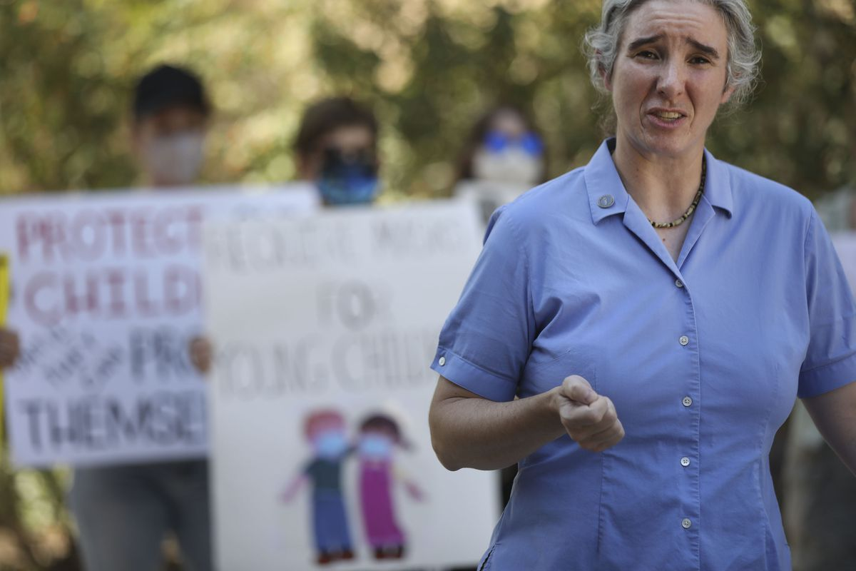 Deborah Gatrell speaks at a pro-mask rally at the Salt Lake County Government Center in Salt Lake City on Thursday, Aug. 12, 2021, after the Salt Lake County Council voted against a mask mandate for K-6 students in schools.
