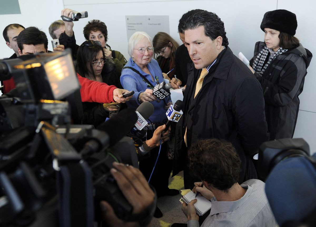 Defense attorney Joseph Tacopina speaks to the media after Brancato was sentenced to 10 years in prison in 2009. (AP Images/Stephen Chernin)