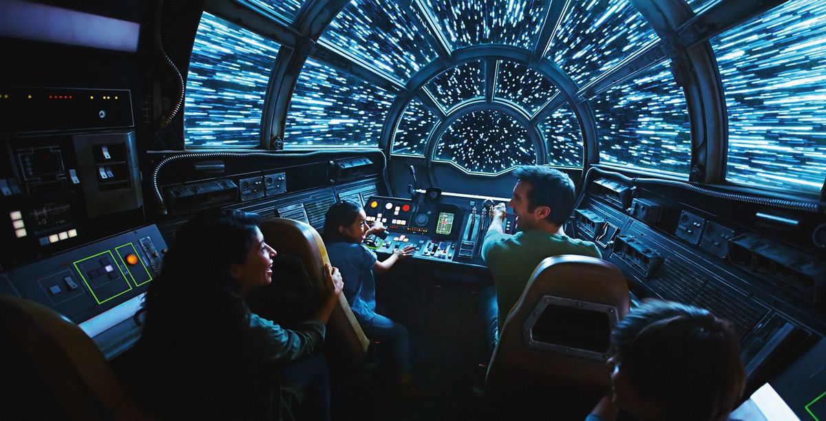 A photo from the cockpit of the Millennium Falcon: Smuggler's Run ride at the Star Wars: Galaxy's Edge theme park
