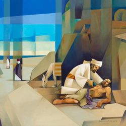 """Artist Jorge Cocco will show his painting """"Go and Do Likewise"""" (oil on canvas), which is based on the parable of the Good Samaritan, the Mormon Arts Center Festival in New York City."""