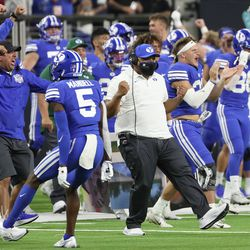 Brigham Young Cougars head coach Kalani Sitake celebrates a missed field goal by the Arizona Wildcats during the Vegas Kickoff Classic in Las Vegas on Saturday, Sept. 4, 2021. BYU won 24-16.