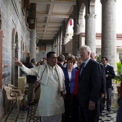 Elder D. Todd Christofferson, a member of the Quorum of Twelve Apostles for The Church of Jesus Christ of Latter-day Saints, is greeted by Prof. Dr. Vishwanath D. Karad, President, World Peace Centre (Alandi), MAEER's MIT World Peace University, as he arrives at the university prior to attending an award ceremony in Pune, Maharashtra, India, on August 14, 2017