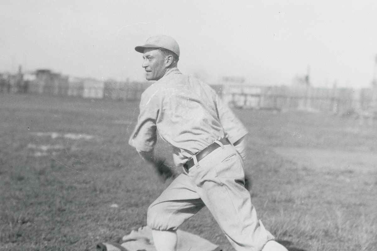 Pitcher Clarence Mitchell in Action Stance