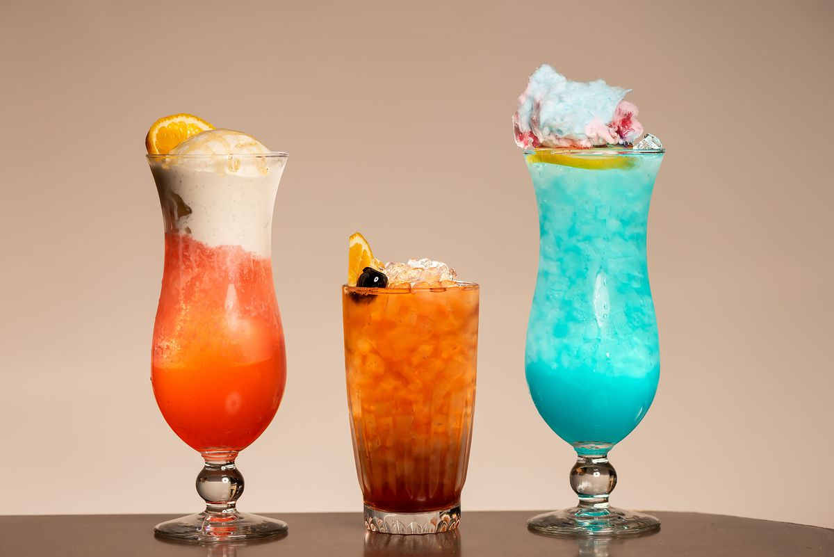 Three colorful cocktails.