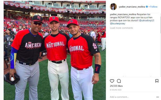 """<em>Rough translation of Molina's Instagram response to Contreras comments during Cubs Convention: """"Respect the ranks.""""</em>"""