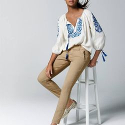 Embroidered peasant top.