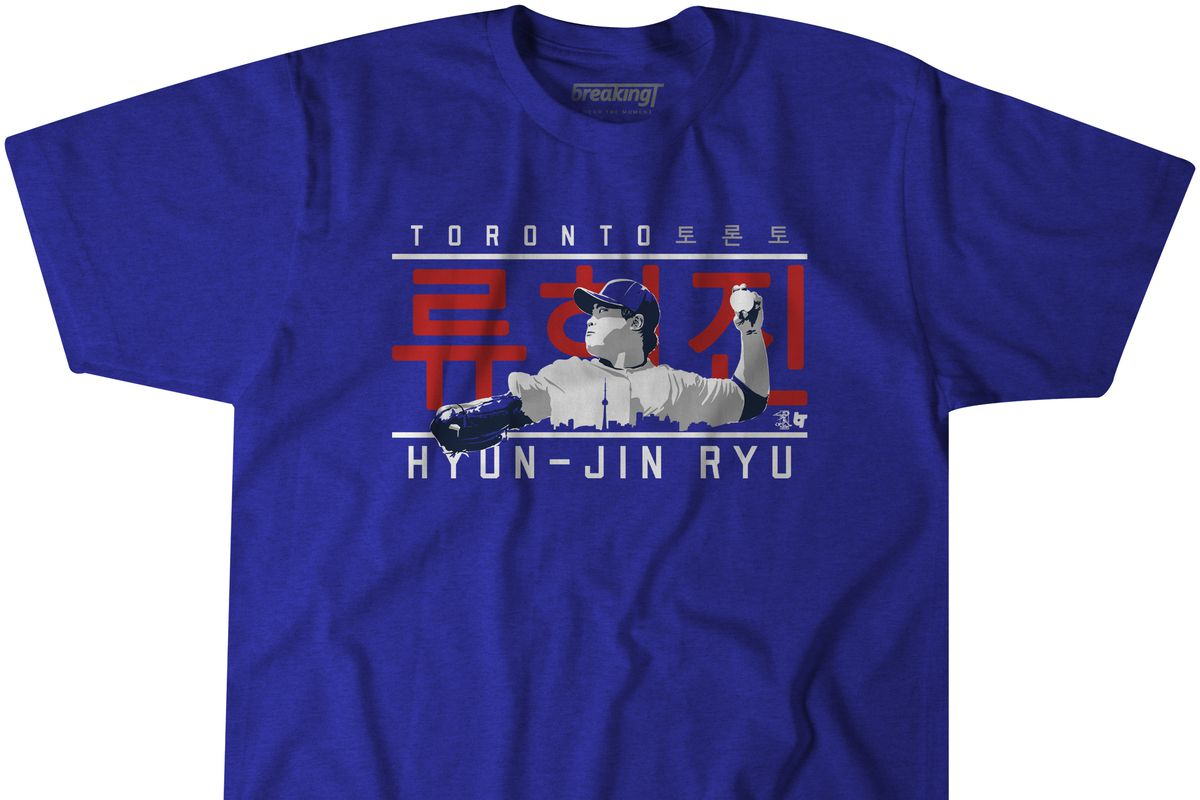 Blue t-shirt with an illustration of Toronto Blue Jays pitcher Hyun-Jin Ryu overlaid with the Toronto skyline. Behind him is his name in Korean 류현진.