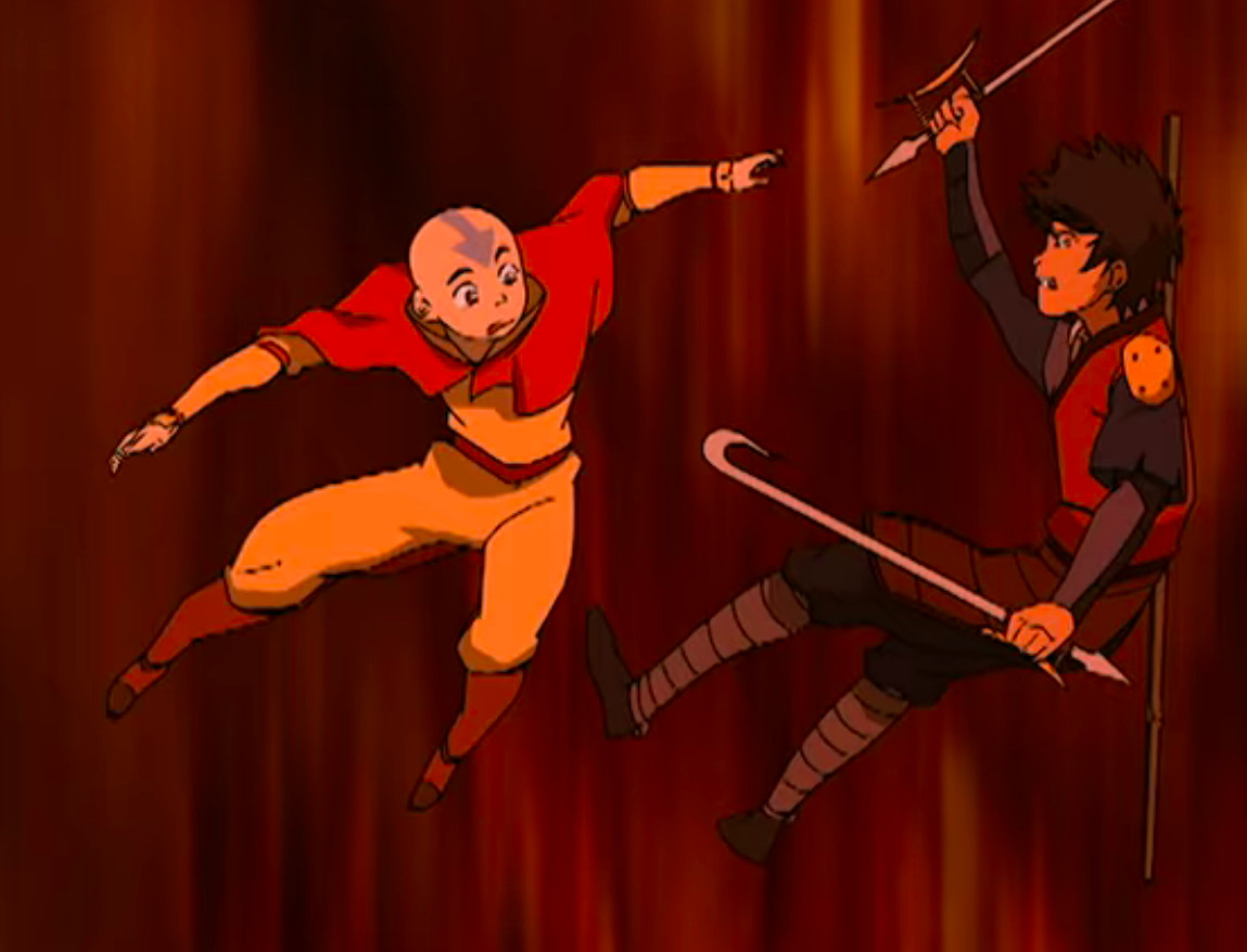 Aang and Jet plummet through the air, in Avatar: The Last Airbender.