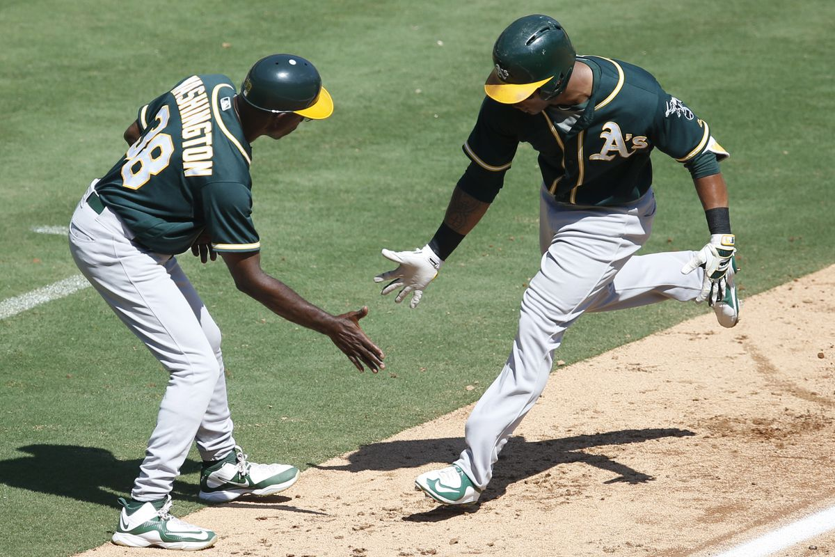 Khris Davis hits #40 in today's rout of the Rangers