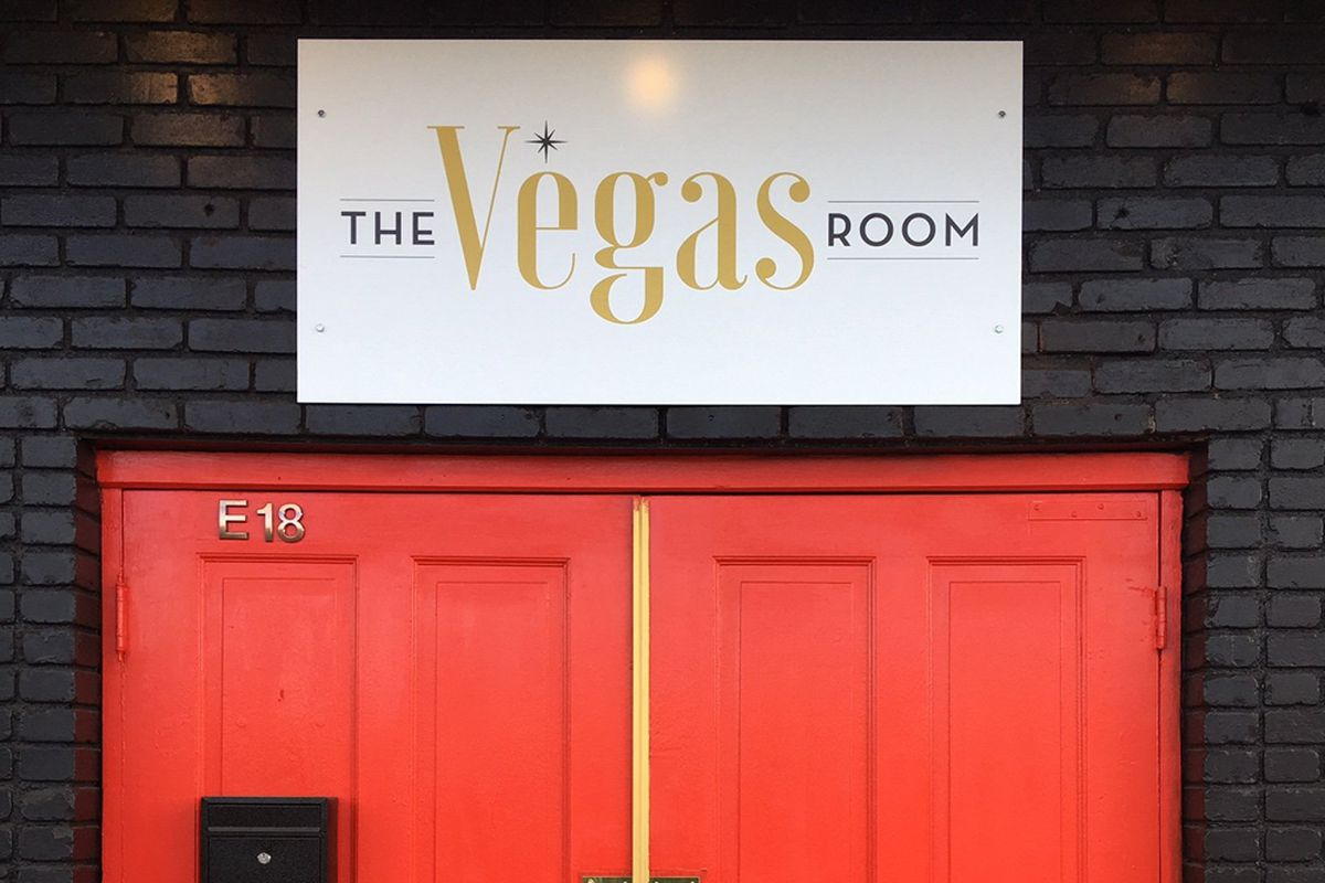 The hard to miss red front door at The Vegas Room, located at the Commercial Center.