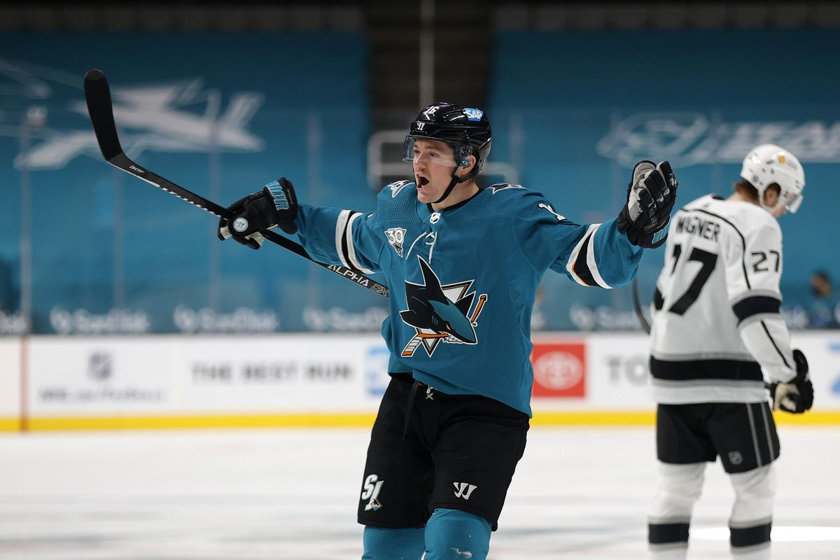 Ryan Donato #16 of the San Jose Sharks celebrates after he scored the winning goal in the thrid period of their game against the Los Angeles Kings at SAP Center on March 22, 2021 in San Jose, California.