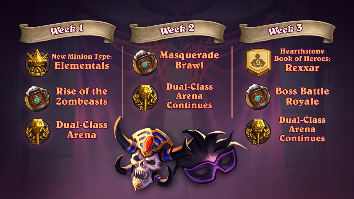 Hearthstone - a three-week calendar showing the gradual arrival of new features in the game.