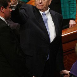 President Thomas S. Monson waves to the audience after the 182nd Annual General Conference for The Church of Jesus Christ of Latter-day Saints in Salt Lake City  Sunday, April 1, 2012.