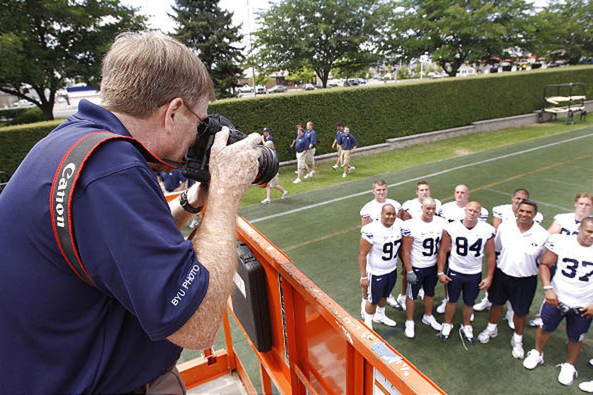 A group of defensive players poses on Thursday as BYU holds its photo day in preparation for the 2009 season.