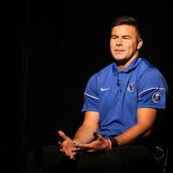 Quarterback Tanner Mangum answers questions during BYU Football Media Day at BYU Broadcasting in Provo on Friday, June 23, 2017.