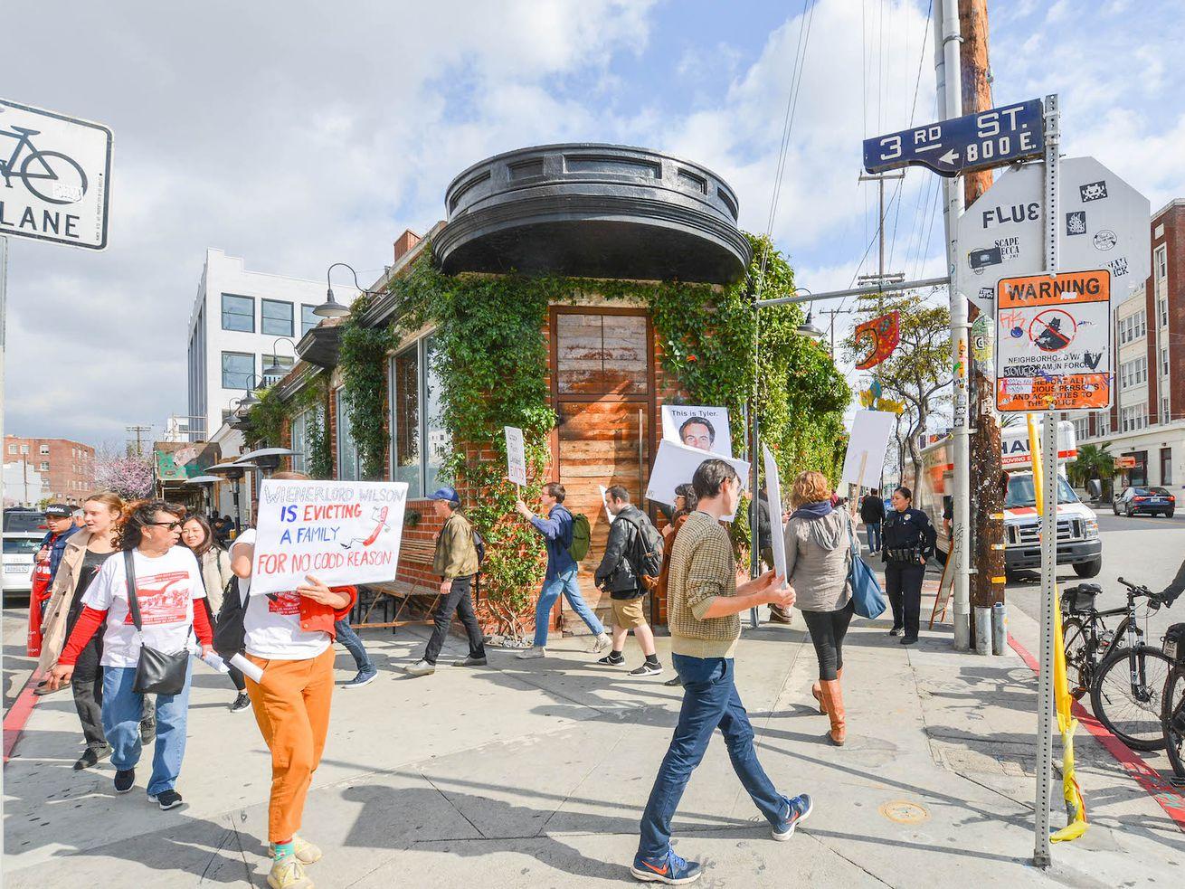 Protestors at Wurstkuche in the Arts District