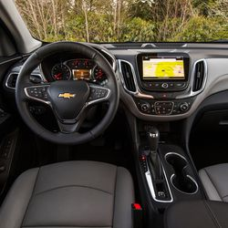 The interior of the 2018 Chevrolet Equinox features an intuitive design and takes advantage of the vehicle's all-new architecture to offer a down-and-away instrument panel.