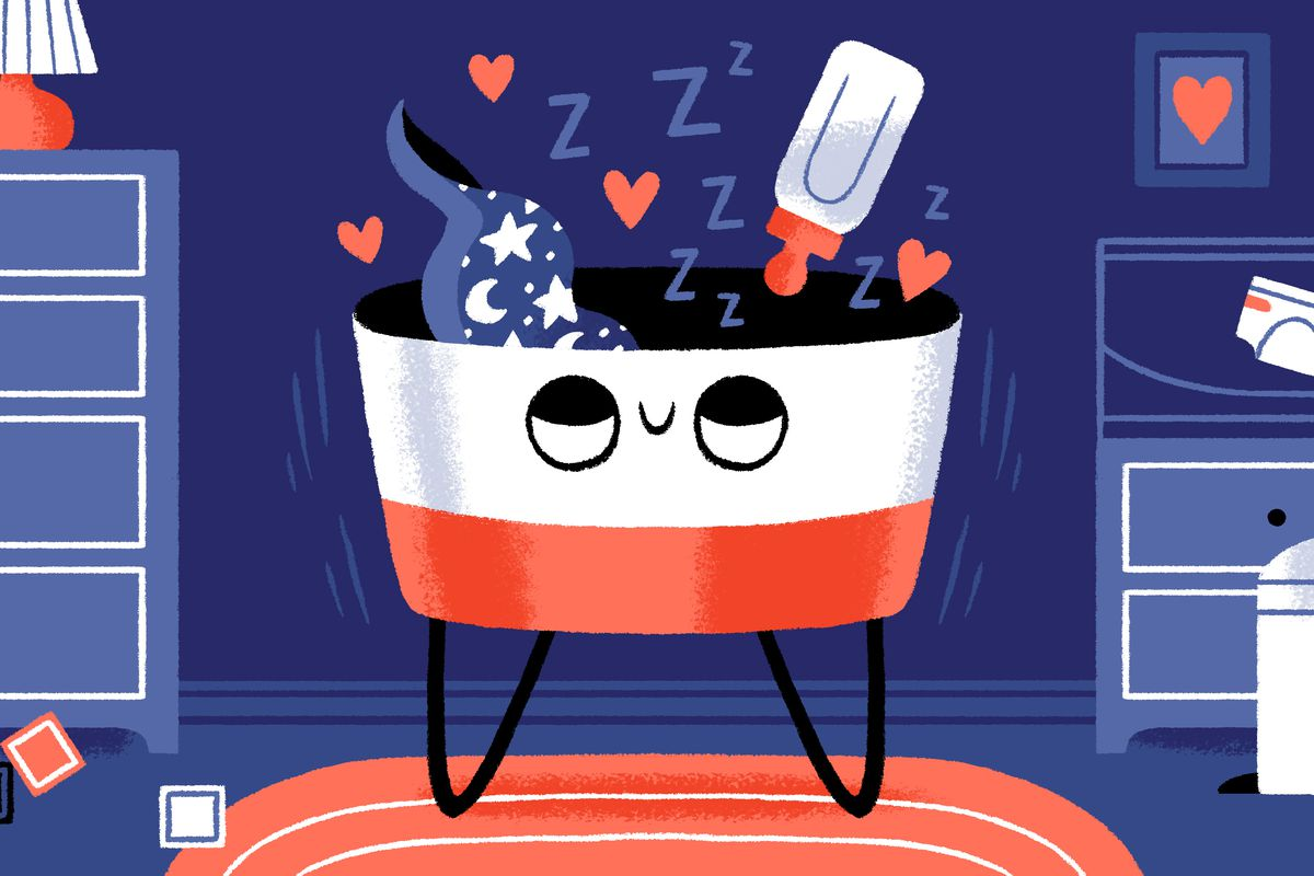 A nighttime scene in a babies room. A personified Snoo bassinet gently rocks a baby to sleep offering it a blanket and a bottle. Hearts and Z's emit from the Snoo. Illustration.