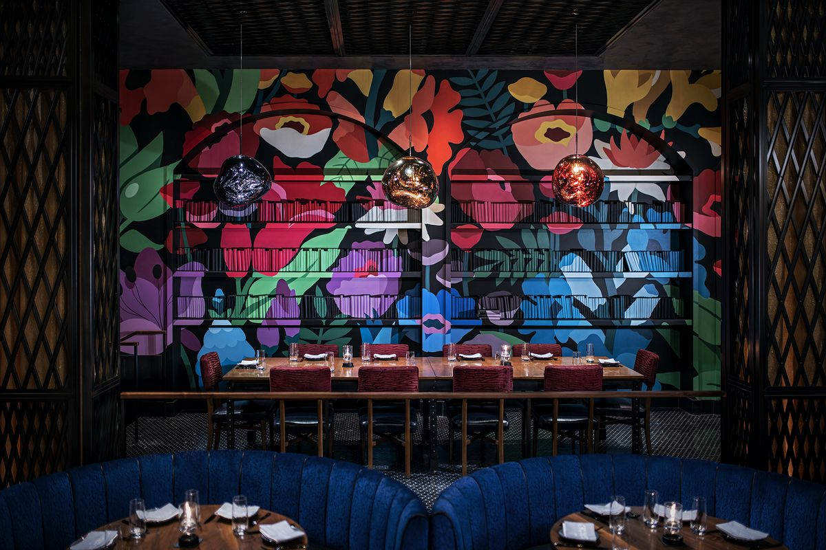 Mural by DabsMyla in the private dining room at Greene St. Kitchen