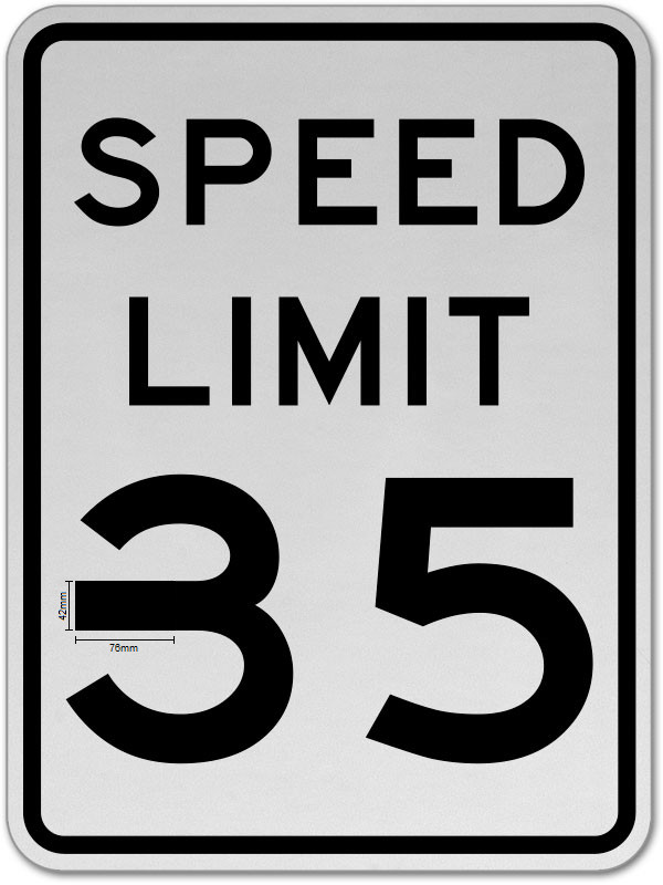 A 35-mile-per-hour speed limit sign with a piece of black electrical tape on the 3, making the middle part of the 3 just a bit longer so it resembles an 8.