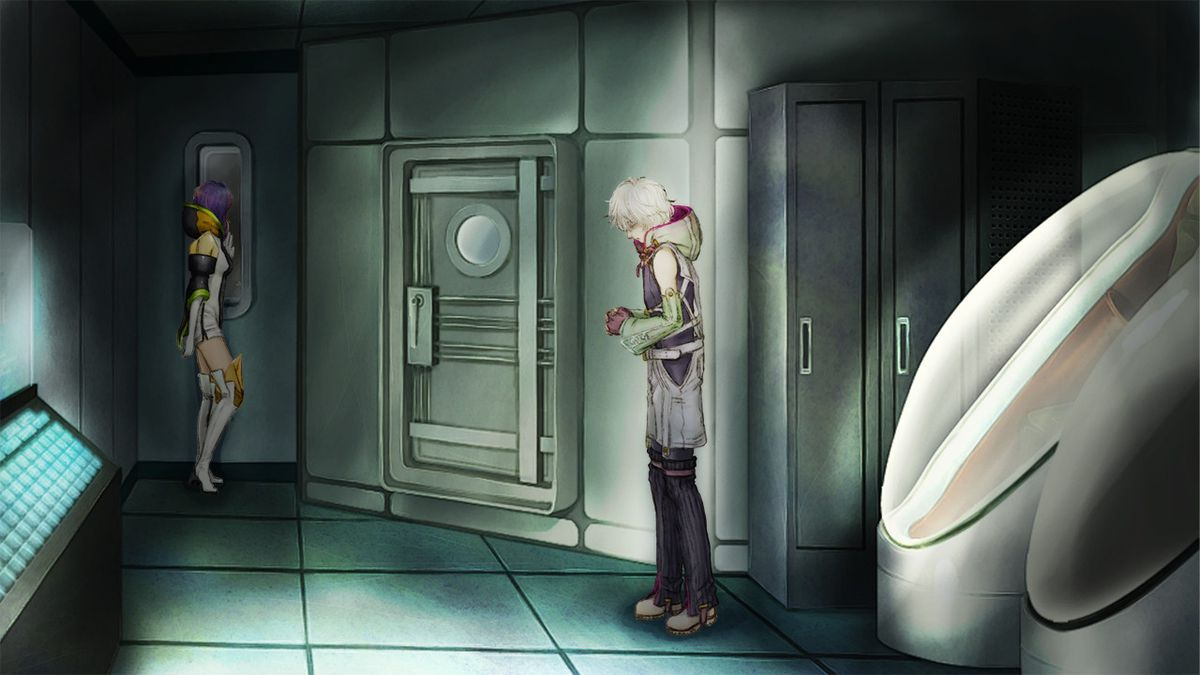 Two characters stand in a dim hallway in Gnosia