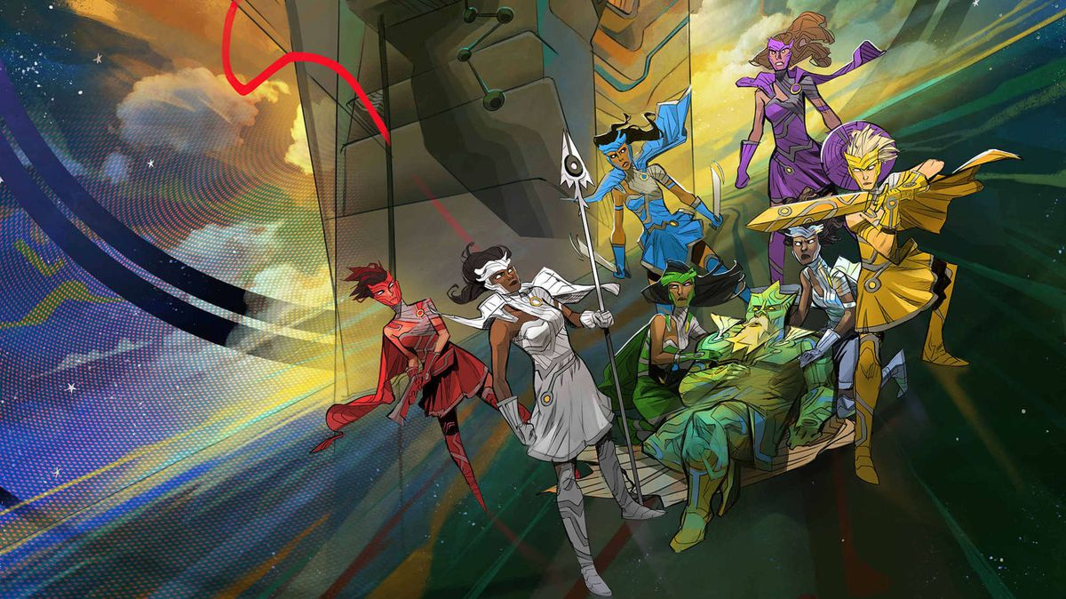 Female characters in outlandish colorcoded costumes circle around a sick-looking alien man in art from Starward.