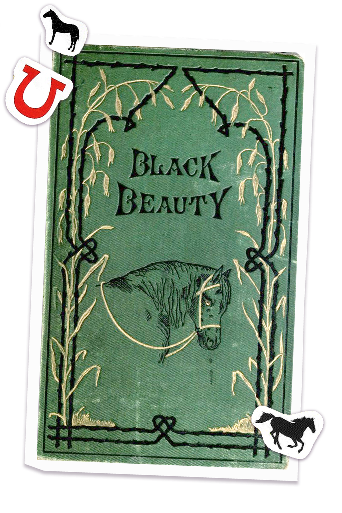 Cover of Black Beauty novel with horse and horse shoe stickers