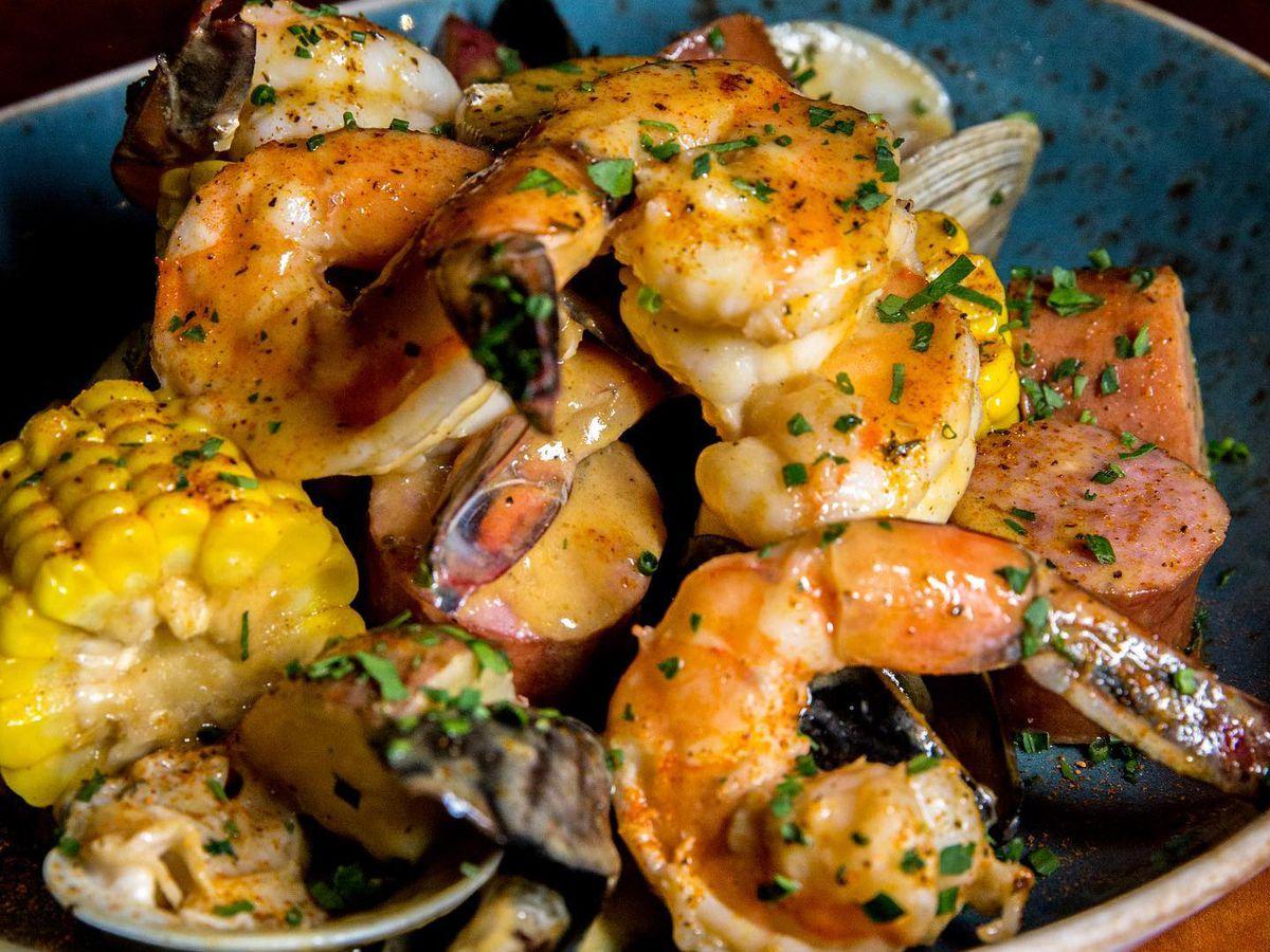 A shrimp boil with corn