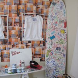 The paint-your-own shirt room.