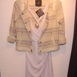 <b>Jack by BB Dakota</b> White Cape Printed Jacket, $72; <b>BCBGeneration</b> Lavender Dress, $104; <b>House of Harlow 1960</b> Gold Locket Necklace, $79