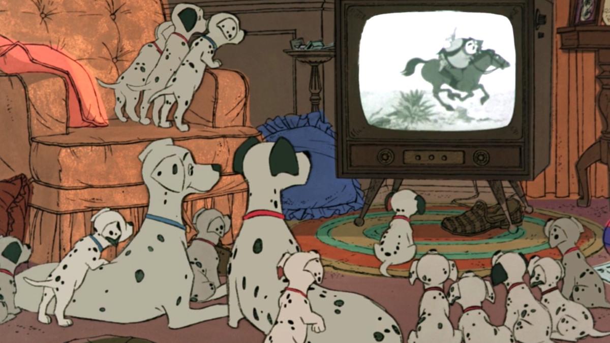 101 dalmatians watching television