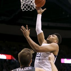 Brigham Young Cougars forward Yoeli Childs (23) shoots over Santa Clara Broncos forward Josip Vrankic (13) at Brigham Young University in Provo on Thursday, Feb. 20, 2020.