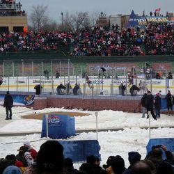 The Blackhawks in their pregame skatearound