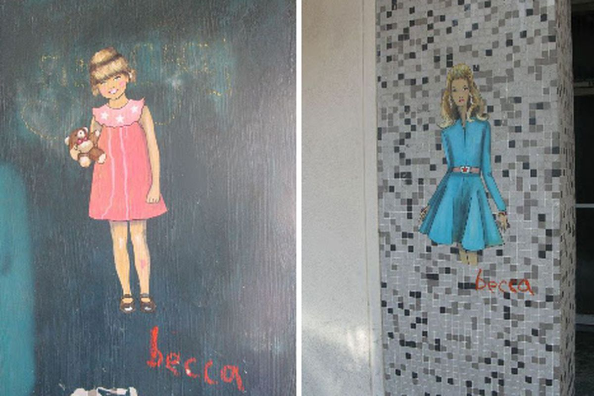 """Becca paintings on Larchmont storefronts. Image via<a href=""""http://nathalieseaver.typepad.com""""> Nathalie Seaver</a>"""