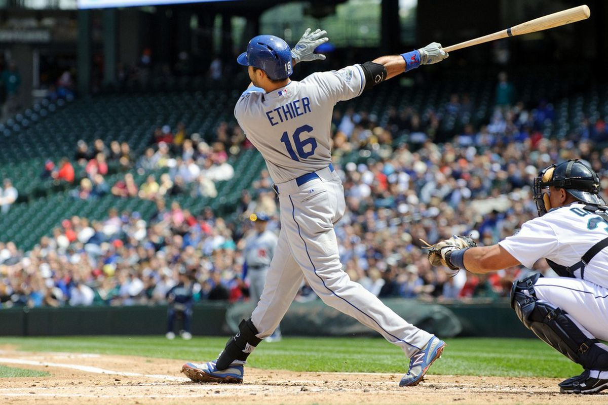 June 10, 2012; Seattle, WA, USA; Los Angeles Dodgers right fielder Andre Ethier (16) hits a grand slam against the Seattle Mariners during the 2nd inning at Safeco Field. Mandatory Credit: Steven Bisig-US PRESSWIRE