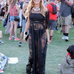 Paris Hilton in a Michael Costello dress.