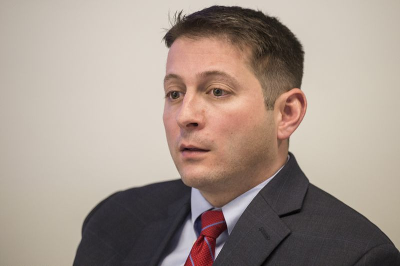 State Sen. Jason Barickman meets with the Sun-Times Editorial Board in 2017.
