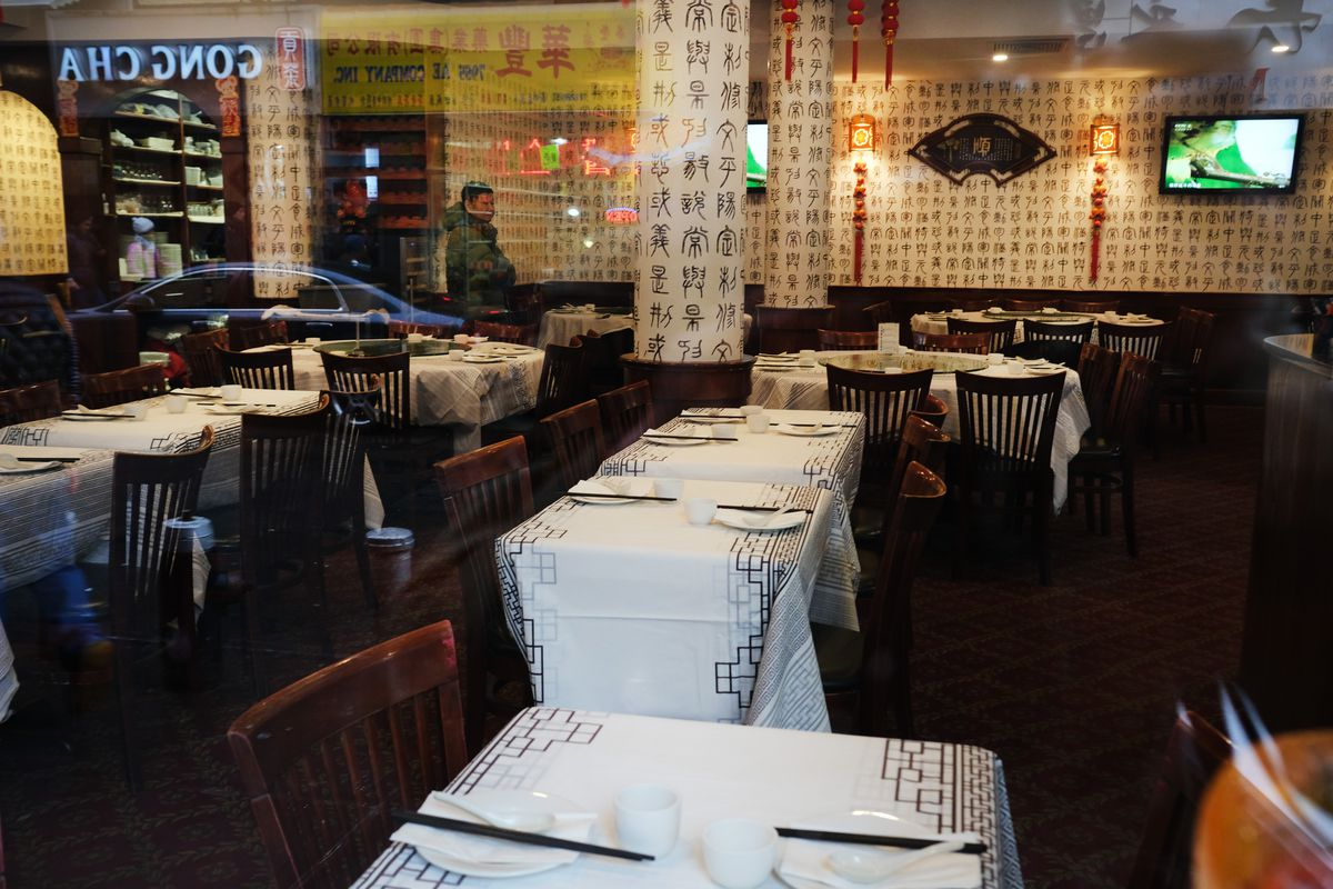 An empty restaurant stands in New York's Chinatown on February 13.