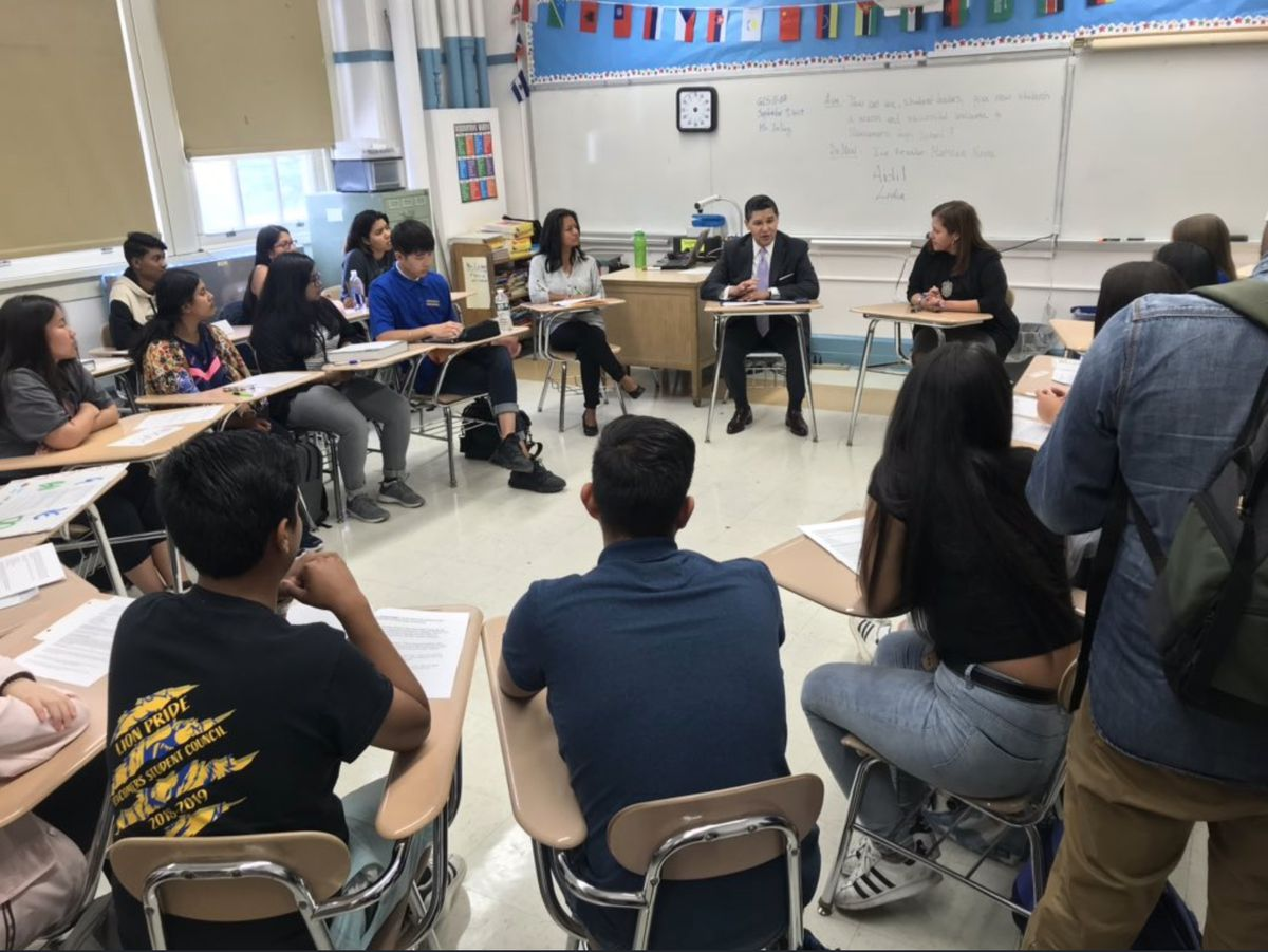 """The chancellor at <span style=""""font-weight: 400;""""> at Newcomer High School in Queens.</span>"""