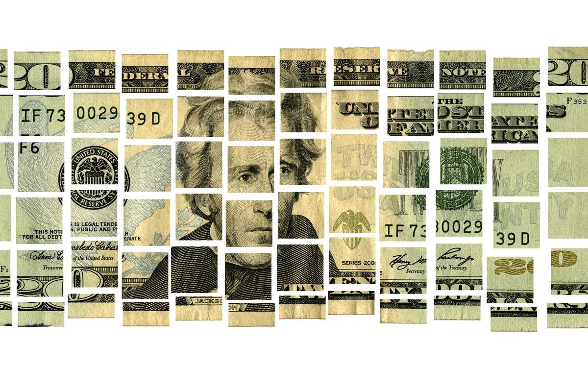 Photo illustration of a twenty-dollar bill cut into small squares.