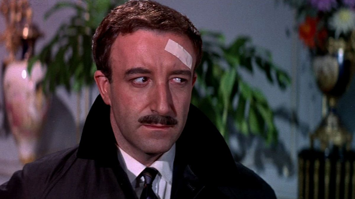 A Shot in the Dark: Peter Sellers gives a side eye with a bandage on this head