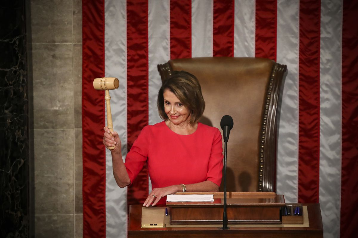 Rep. Nancy Pelosi (D-CA) reclaims her former title of Speaker of the House during the first session of the 116th Congress, on January 3, 2019.