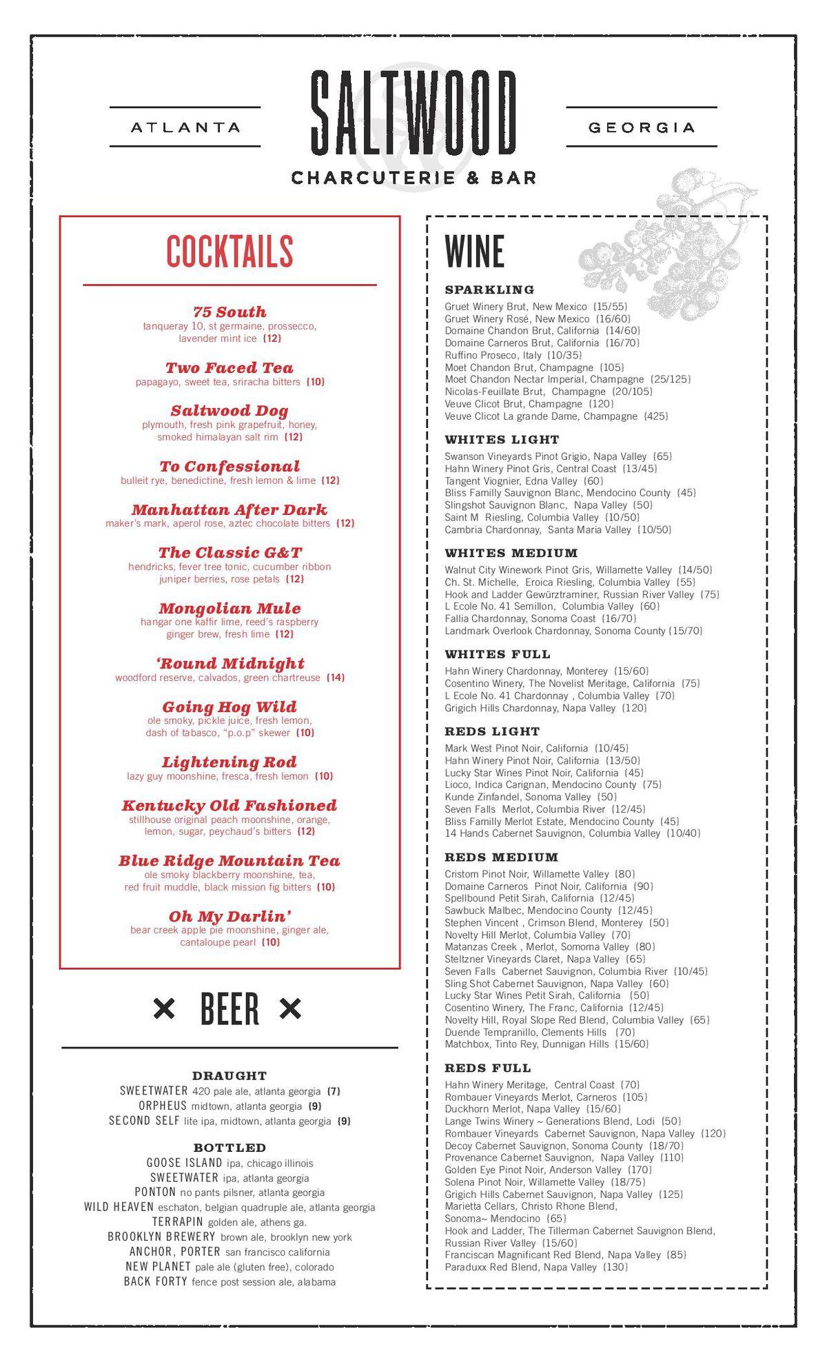 Saltwood drinks menu