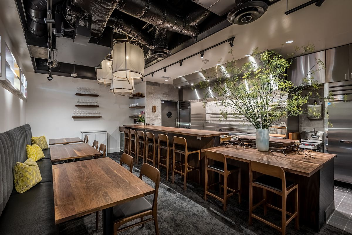 Inside a tiny fine dining restaurant in Santa Monica named Dialogue, with mostly only counter seating available.