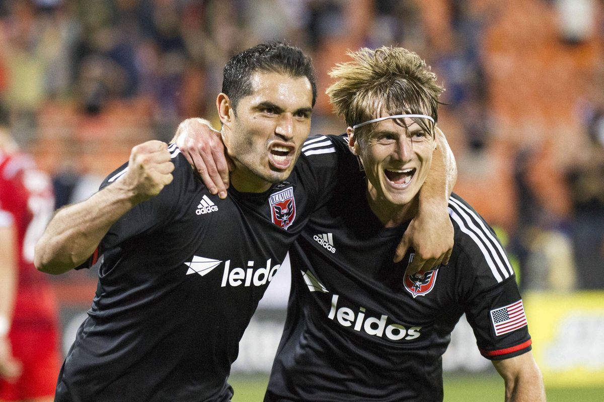 Fabian Espindola & Chris Rolfe, two of the many threats DC possess, celebrate a goal in unison