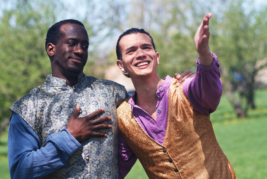 """Cast as the title characters in the Midsommer Flight production of """"Two Gentlemen of Verona"""" are David Goodloe (as Valentine, left) and Chad Bay (as Proteus).   ZACH WHITTINGTON"""