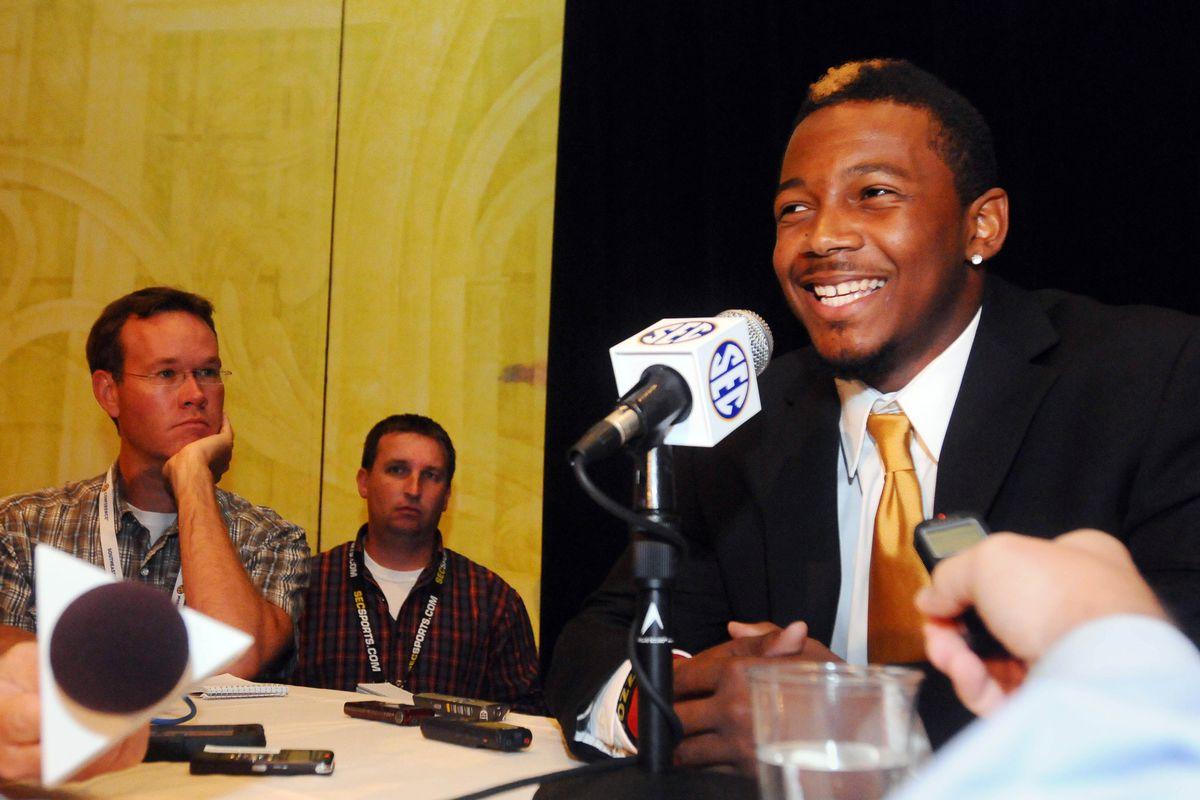 July 17, 2012; Hoover, AL, USA;  Missouri Tigers cornerback E.J. Gaines talks to reporters at the 2012 SEC media days press conference at the Wynfrey Hotel.   Mandatory Credit: Kelly Lambert-US PRESSWIRE
