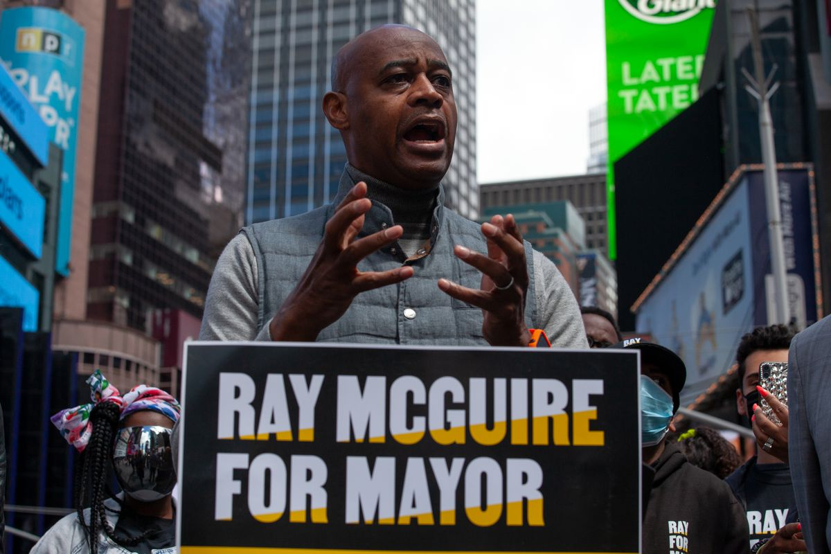 Mayoral candidate Ray McGuire speaks about public safety in Times Square, May 10, 2021.