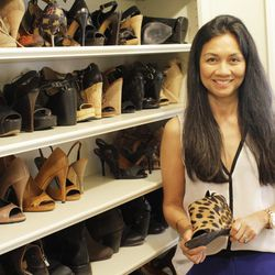 Madison vice president Emily Goldstein with her Alexander Wang spring 2010 Alla wedge mules.